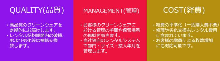 東洋リビングサービスが自信をもってお届けする、クリーンウェアレンタルシステムのメリット